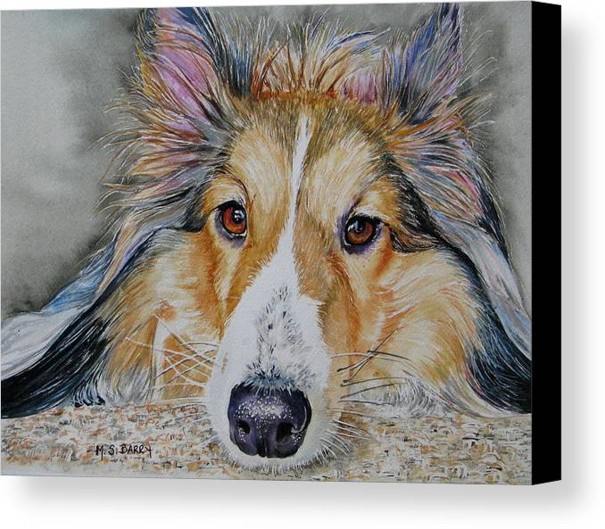 Dog Canvas Print featuring the painting Carly by Maria Barry