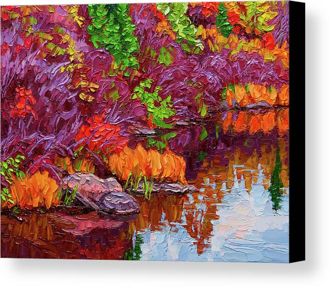 Autumn Canvas Print featuring the painting Cascading Colours, Tunnel Island by Rob MacArthur