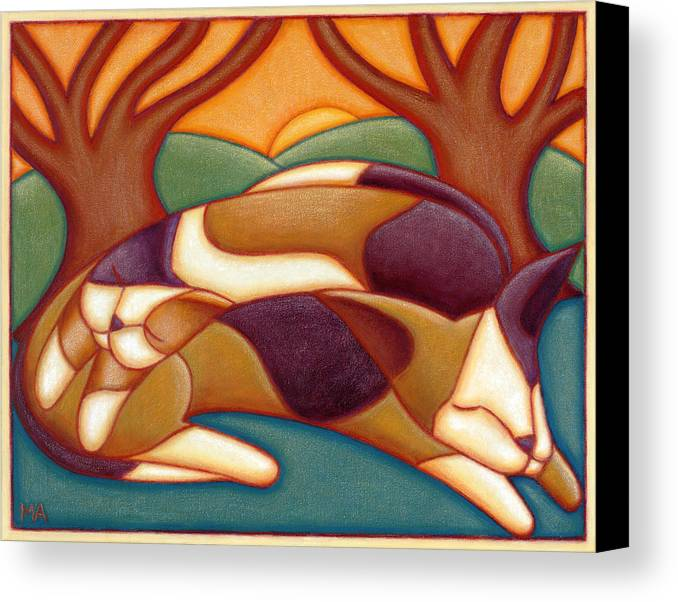 Whimsical Canvas Print featuring the painting Cat Nap by Mary Anne Nagy