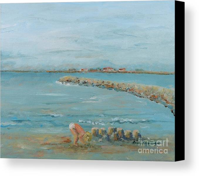 Beach Canvas Print featuring the painting Child Playing At Provence Beach by Nadine Rippelmeyer