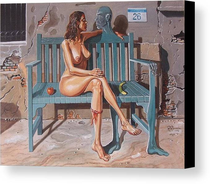 Surreal Canvas Print featuring the painting Clandestine Libido by Ramaz Razmadze