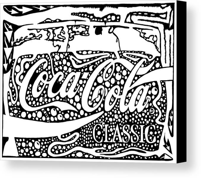 Coca Canvas Print featuring the drawing Coca-cola Maze Advertisement by Yonatan Frimer Maze Artist