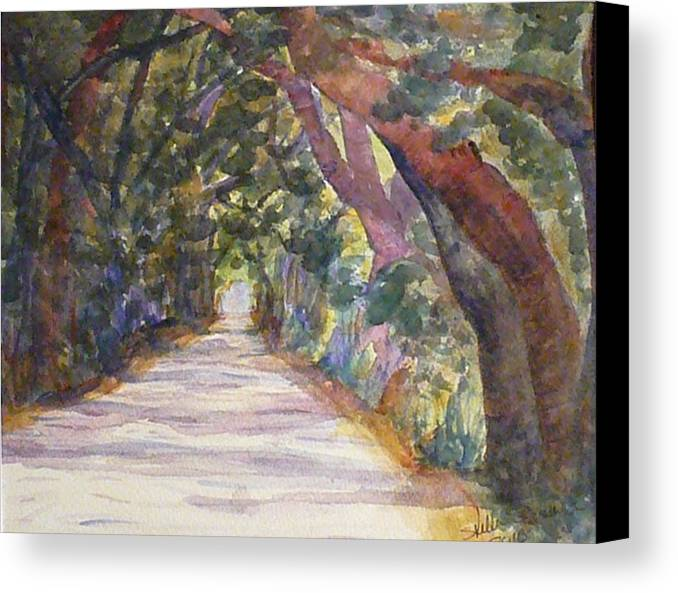 Landscape Canvas Print featuring the painting Coffin Point Road by Stella Schaefer