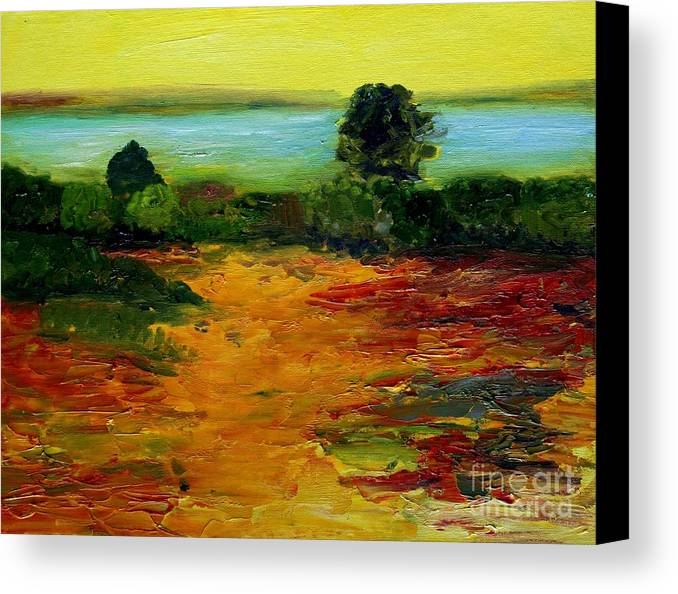 Landscape Canvas Print featuring the painting Colorful Prairie by Julie Lueders