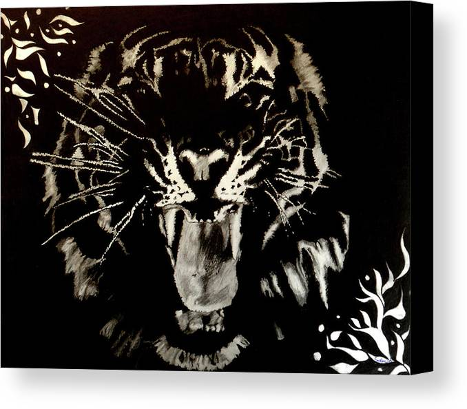 Tiger Canvas Print featuring the drawing Conqueroar by Saheed Fawehinmi