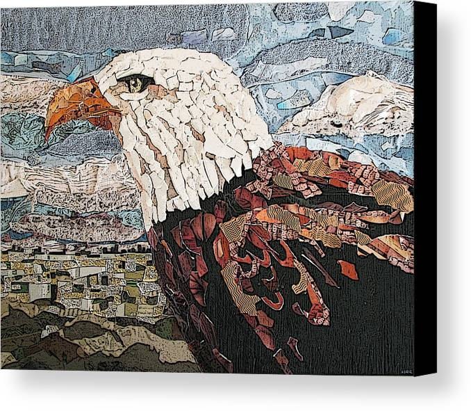 Eagle Canvas Print featuring the mixed media Consumer Eagle Veiw by Alicia LaRue