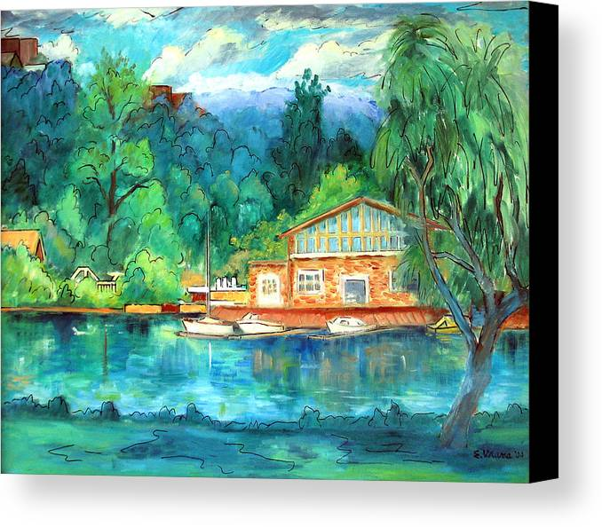 Cauga Lake Canvas Print featuring the painting Cornell Boathouse by Ethel Vrana