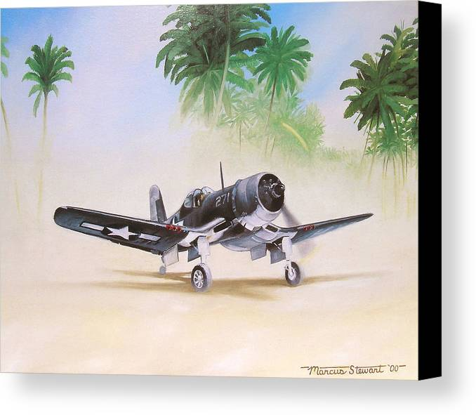 Aviation Canvas Print featuring the painting Corsair Preflight by Marc Stewart