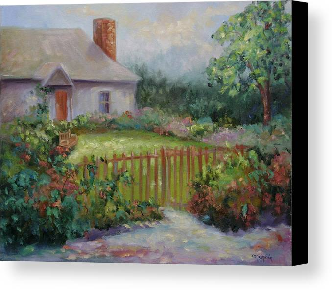 Cottswold Canvas Print featuring the painting Cottswold Cottage by Ginger Concepcion