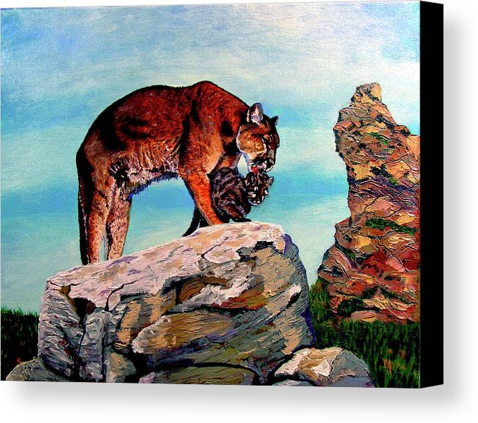 Cougar Canvas Print featuring the painting Cougars Mother And Cub by Stan Hamilton