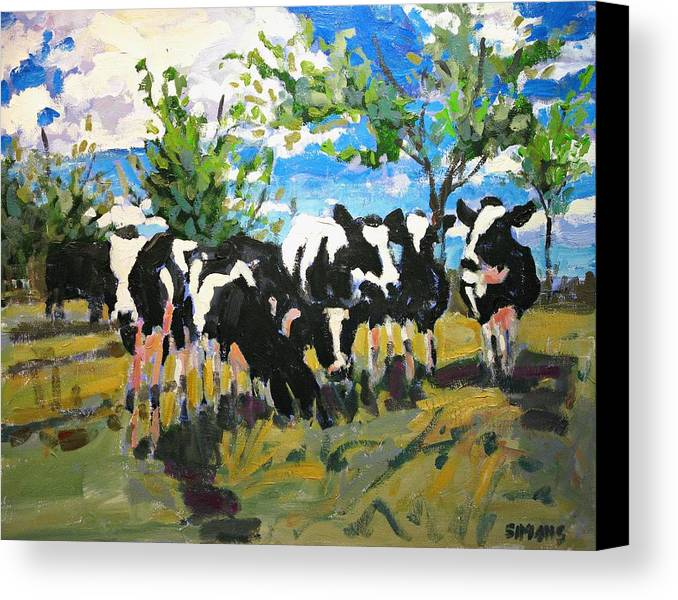 Landscape Canvas Print featuring the painting Cowscape by Brian Simons