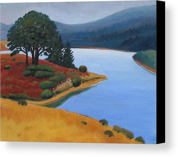 Reservior Canvas Print featuring the painting Crystal Springs by Gary Coleman
