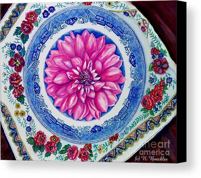 Still Life Canvas Print featuring the painting Dahlia And Blue Willow by Norma Boeckler