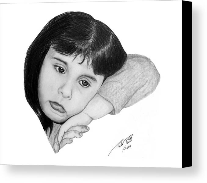 Portrait Sketch Canvas Print featuring the drawing Dannie by Peter Piatt