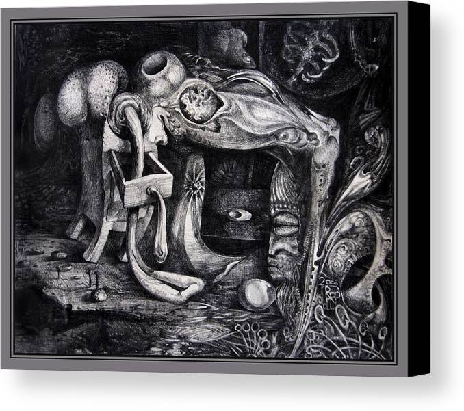 Drawing Canvas Print featuring the drawing Dark Surprise by Otto Rapp