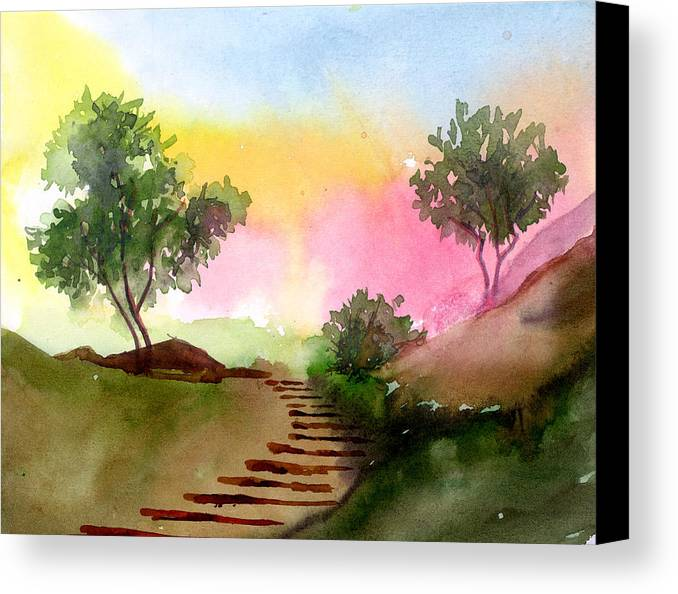 Landscape Canvas Print featuring the painting Dawn by Anil Nene
