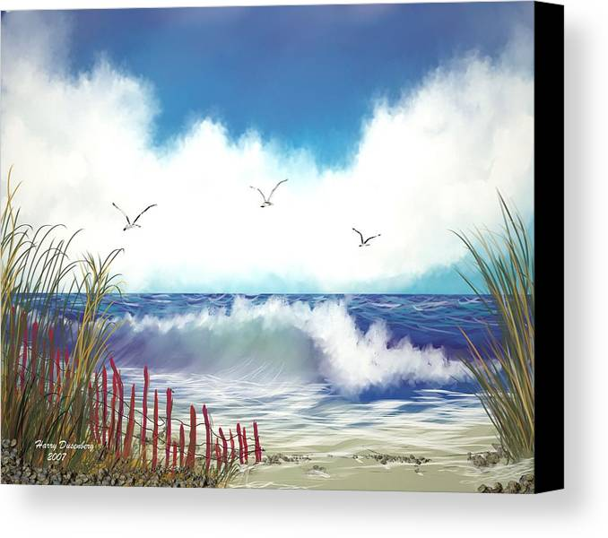 Sea Canvas Print featuring the painting Day At The Beach by Harry Dusenberg