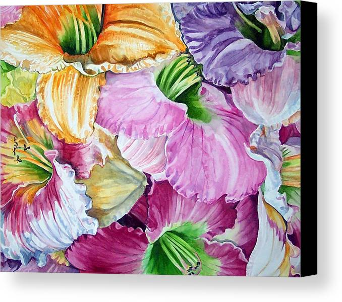 Lillies Canvas Print featuring the print Daylillies by Bette Gray