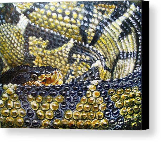 Snake Canvas Print featuring the painting Deadly Details by Cara Bevan