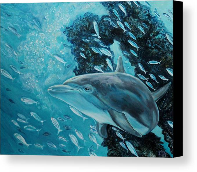 Underwater Scene Canvas Print featuring the painting Dolphin With Small Fish by Diann Baggett