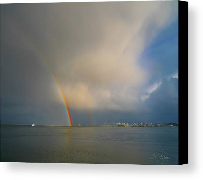 Rainbow Canvas Print featuring the photograph Double Rainbow by Sabine Stetson
