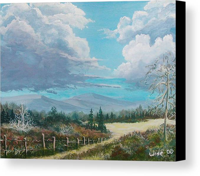 Lanscape Canvas Print featuring the painting Down To The Meadow by John Wise