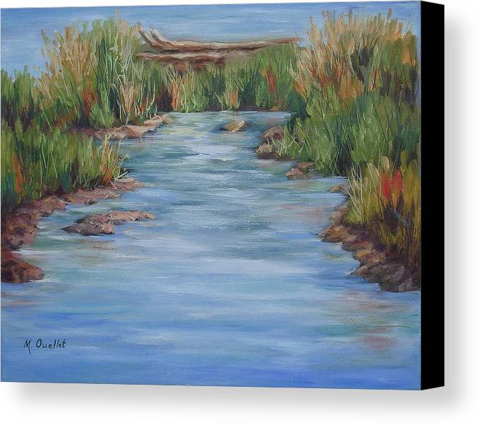 Landscape Canvas Print featuring the painting Downstream by Maxine Ouellet
