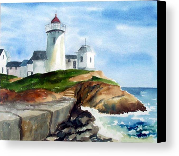 Landscape Canvas Print featuring the print Eastern Point Light by Anne Trotter Hodge