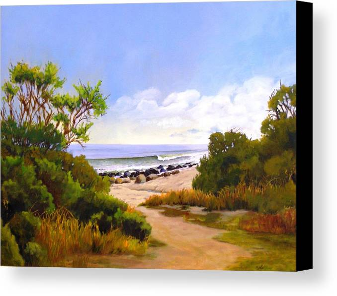 Wave Canvas Print featuring the painting El Capitan Beach by Dorothy Nalls