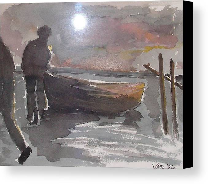 Nautical Canvas Print featuring the painting End Of Day by Yael Eylat-Tanaka