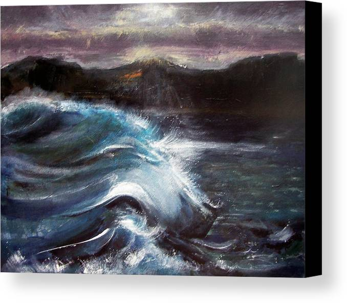 Waves Canvas Print featuring the painting Evening Wave by Valerie Wolf