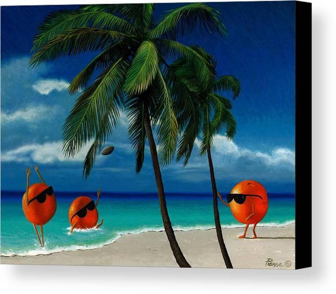 Oranges Painting Palm Trees Ocean Blue Sky Sunglasses Football Fantasy Canvas Print featuring the painting Fantasy-oranges Playing Football by Daniel Pierce