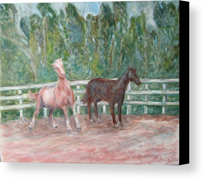 Horse Landscape Animals Canvas Print featuring the painting Fenced In by Joseph Sandora Jr