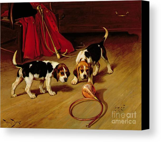 Beagle; Hound; Crop; Whip; Horn; Puppies; Hunt Canvas Print featuring the painting First Introduction by Wright Barker