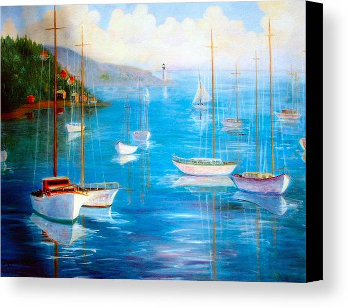 White Fishing Boats Canvas Print featuring the painting Fishing Port by Jeanene Stein