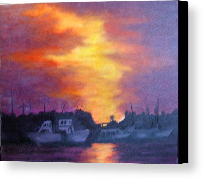 Sunset Canvas Print featuring the painting Florida Keyes Sunset by Colleen DalCanton