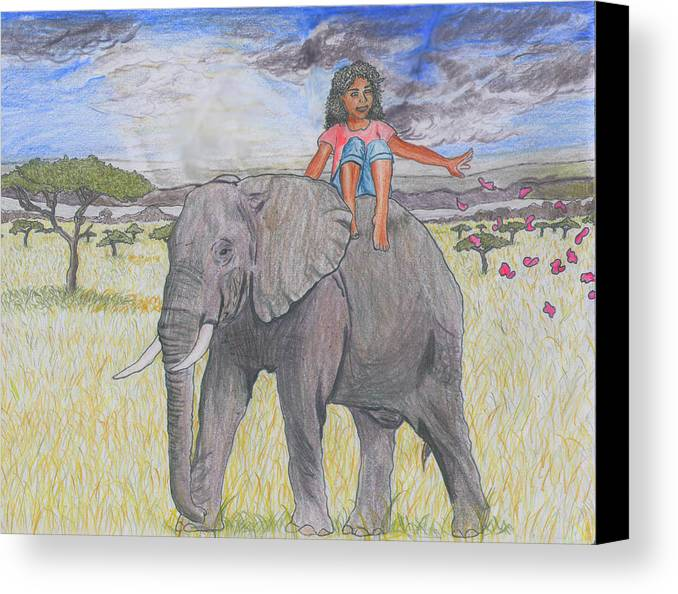 Illustration Canvas Print featuring the drawing Flower Girl by Jasmine Wolfe