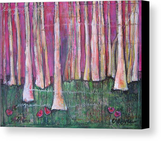 Aspen Trees Canvas Print featuring the painting For Page Turner by Laurie Maves ART