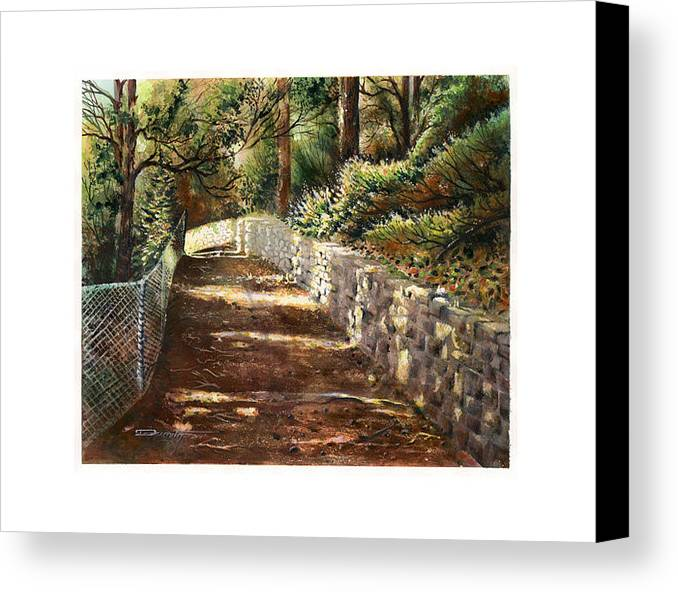 Landscape Canvas Print featuring the painting Forest Path White Cliff by Dumitru Barliga