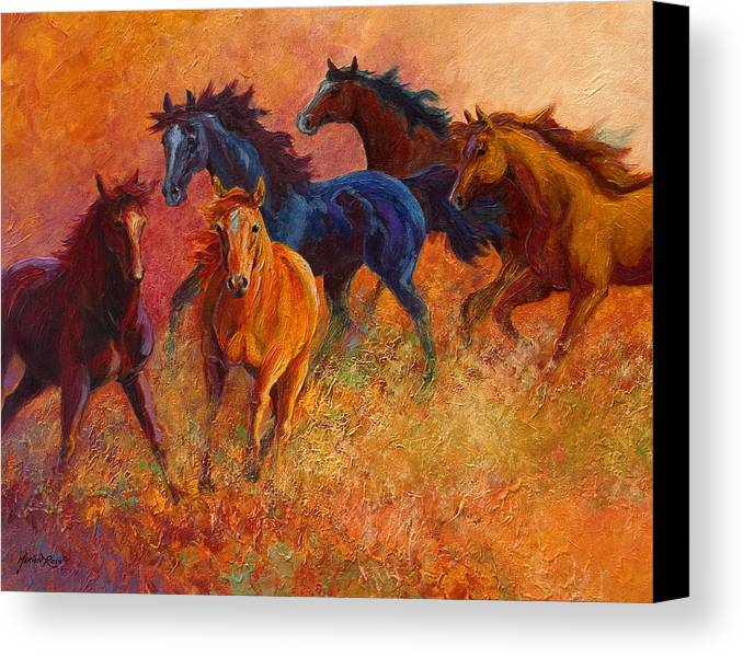 Horses Canvas Print featuring the painting Free Range - Wild Horses by Marion Rose