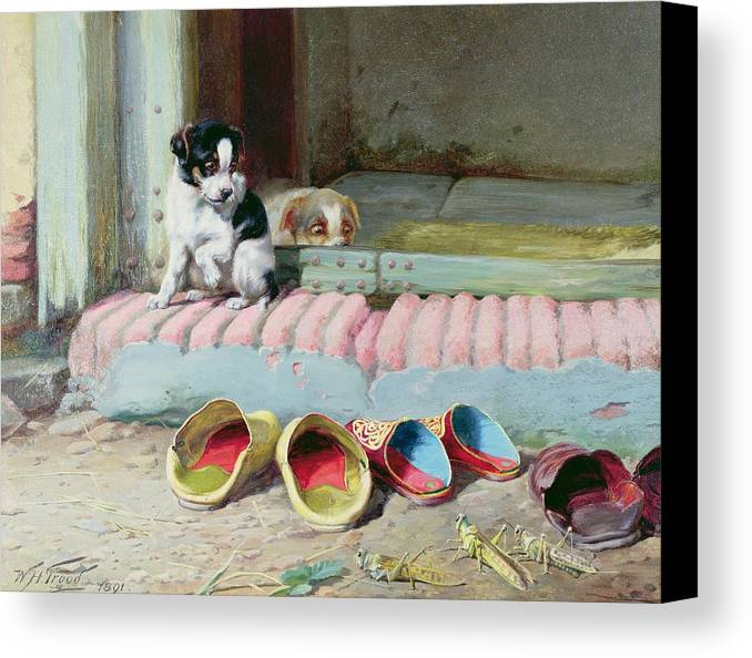 Friend Or Foe Canvas Print featuring the painting Friend Or Foe by William Henry Hamilton Trood