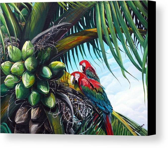 Macaws Bird Painting Coconut Palm Tree Painting Parrots Caribbean Painting Tropical Painting Coconuts Painting Palm Tree Greeting Card Painting Canvas Print featuring the painting Friends Of A Feather by Karin Dawn Kelshall- Best