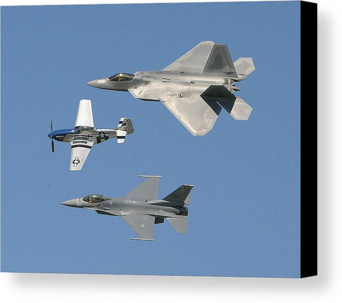 F-22 Canvas Print featuring the photograph Generations by Donald Tusa