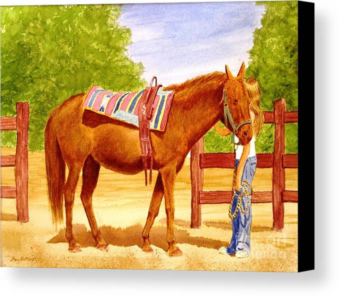 Equine Canvas Print featuring the painting Girl Talk by Stacy C Bottoms