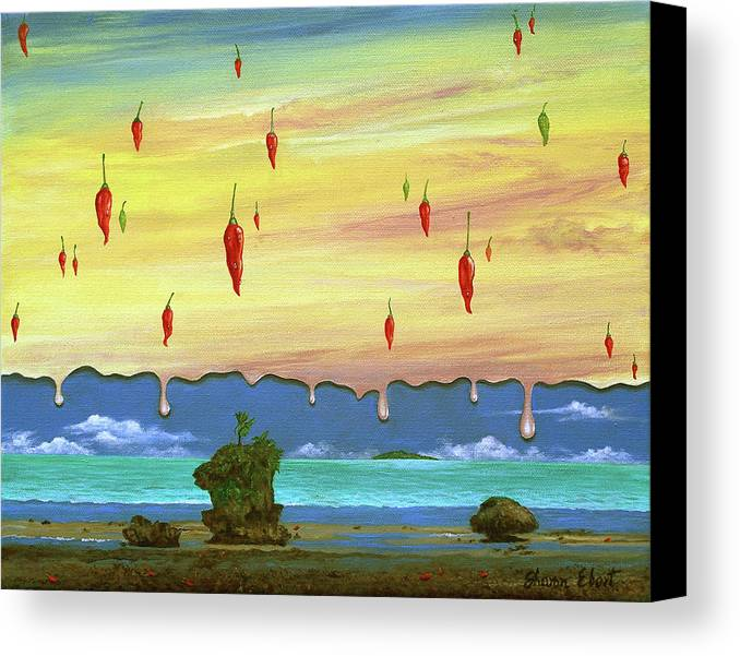 Surreal Painting Canvas Print featuring the painting Global Meltdown by Sharon Ebert