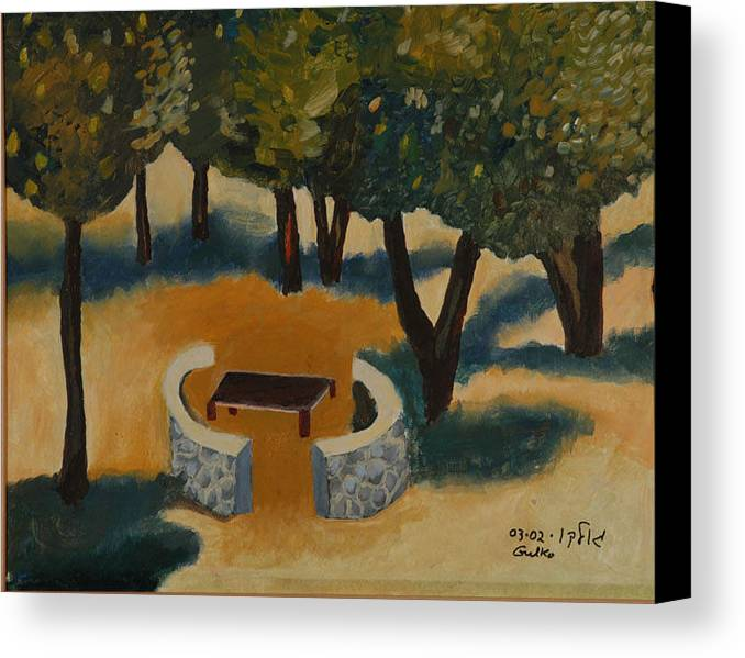 Picnic Countryside Canvas Print featuring the painting Golan Picnic Area  by Harris Gulko