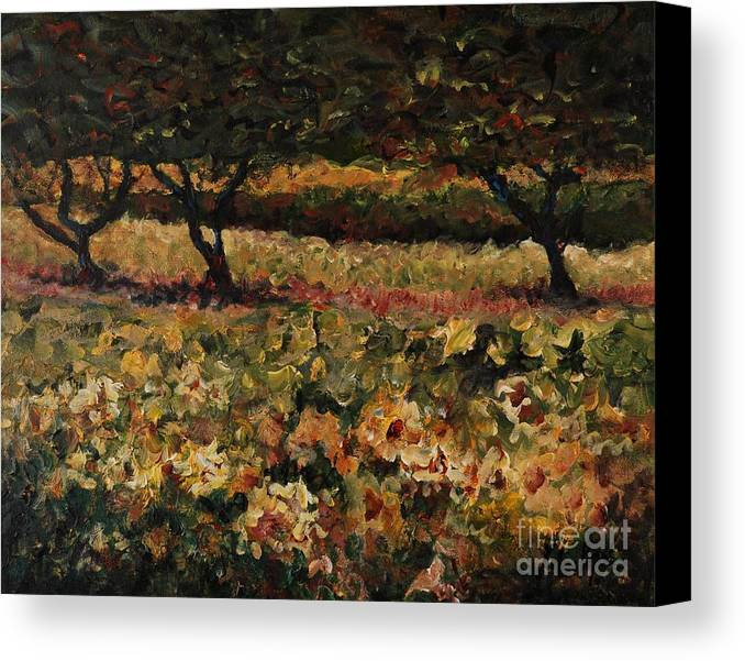 Landscape Canvas Print featuring the painting Golden Sunflowers by Nadine Rippelmeyer