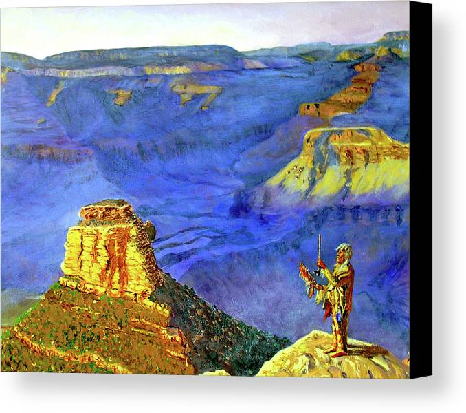 Original Oil On Canvas Canvas Print featuring the painting Grand Canyon V by Stan Hamilton