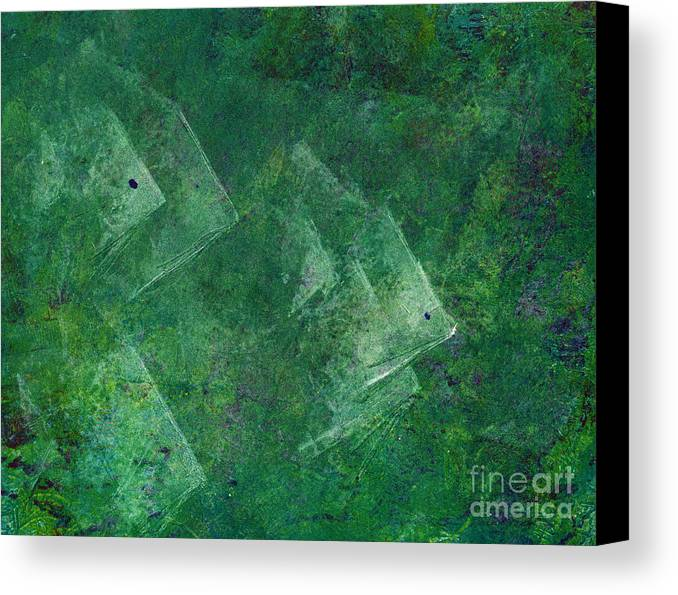A School Of Fish In Green Water- Monotype Print Canvas Print featuring the painting Green Water by Mui-Joo Wee
