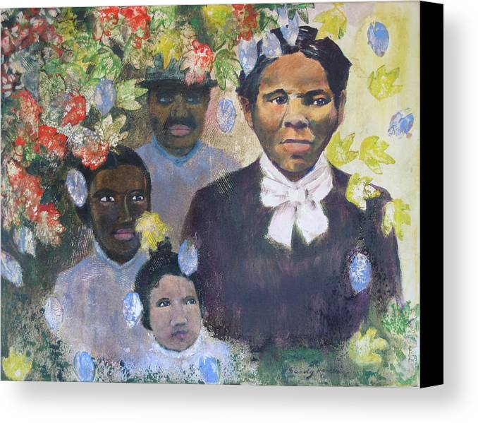 Harriet Tubman Canvas Print featuring the painting Harriet Tubman- Tears Of Joy Tears Of Sorrow by Art Nomad Sandra Hansen